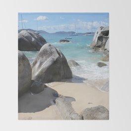 Scenic Beach at The Baths on Virgin Gorda, BVI Throw Blanket