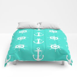 AFE Turquoise Anchor and Helm Wheel Comforters