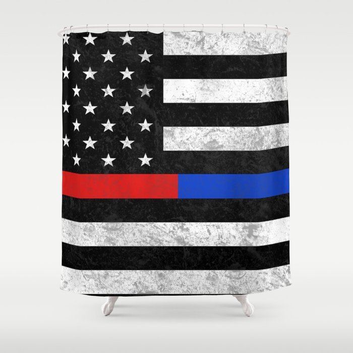 Fire Police American Flag Shower Curtain by bitobots | Society6