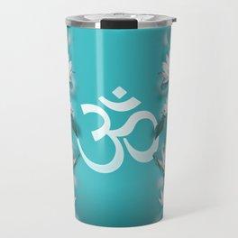 Om Symbol Gentle Lotus Stream on teal Travel Mug