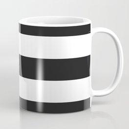 Eerie black - solid color - white stripes pattern Coffee Mug
