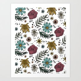 Wild Flower Colorful Floral Pattern Hand Drawn Illustration Art Print