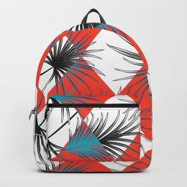 Harlequin rhombuses with palm leaves Backpack