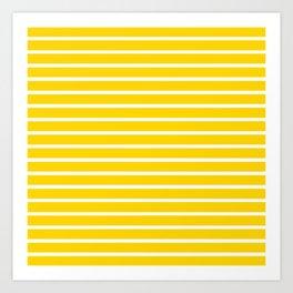 Yellow and White Horizontal Stripes Pattern Art Print