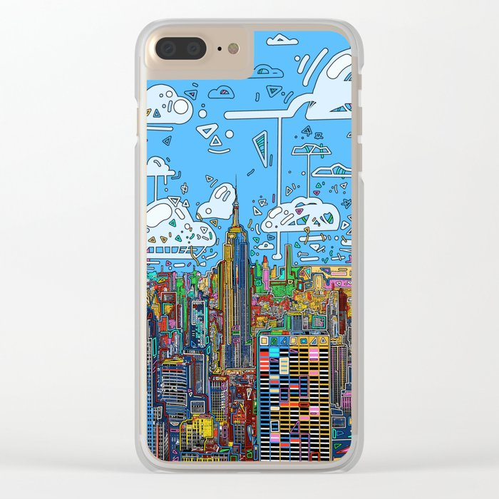 new york city skyline colorful Clear iPhone Case
