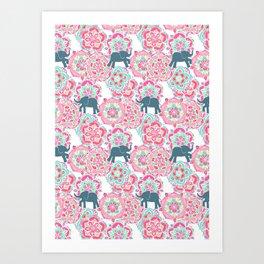 Tiny Elephants in Fields of Flowers Art Print