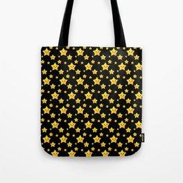 Cute Yellow Stars in Black BG Tote Bag