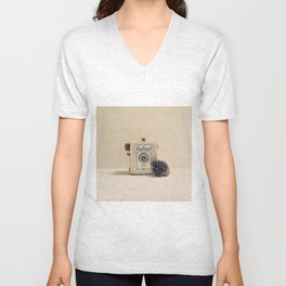 Retro Camera and Pine Cone Unisex V-Neck