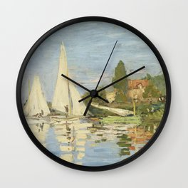 Regattas at Argenteuil by Claude Monet Wall Clock