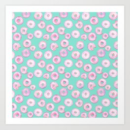 Pink Donuts   Strawberry Watercolor Doughnut Pattern on Teal Art Print