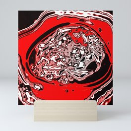 Red Black White Abstract Mini Art Print