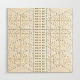 Gold Aqua Geometric Pattern 1.0 Wood Wall Art