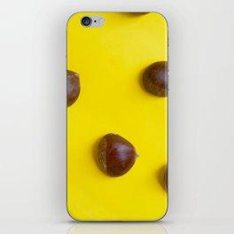 Chestnut pattern on yellow background, ripe chestnuts iPhone Skin