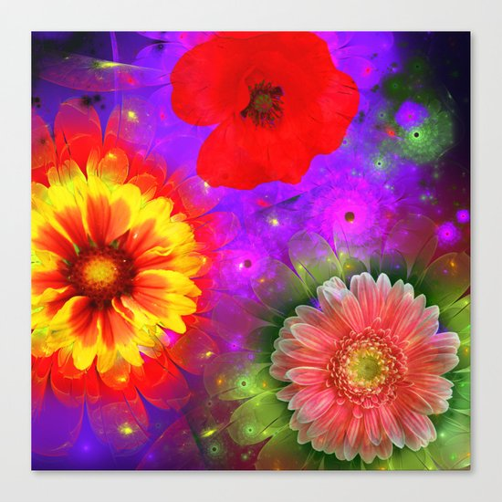 Summer flowers in a colourful fantasy garden Canvas Print