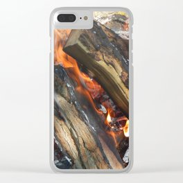 Natural fire burns firewood Clear iPhone Case