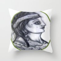 iron maiden Throw Pillows featuring Maiden by David Ansted, Kosoof.