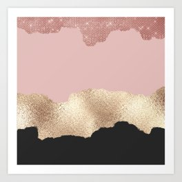 Rose Gold Glitter Black Pink Abstract Girly Art Art Print