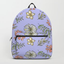 Hand drawn Floral With Purple Background Backpack