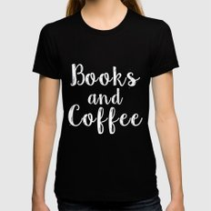 Books and Coffee - Inverted LARGE Black Womens Fitted Tee