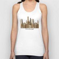 pittsburgh Tank Tops featuring Pittsburgh skyline vintage by bri.buckley