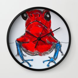 red posion dart frog Wall Clock