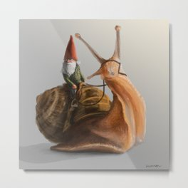 Gnome on Snail Metal Print