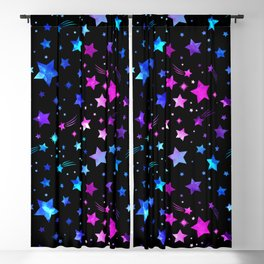Aesthetic Stars Blue Purple Pink Meteor Shower Asteroids Space Pattern Blackout Curtain