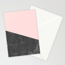 Marble Geometric Blush Pink Gray Black Stationery Cards