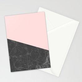 Marble Geometric Blush Pink Gray Black Stationery Cards