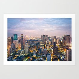 Bangkok City Night Art Print