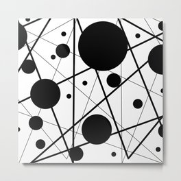 Abstract Lines and Dots Metal Print