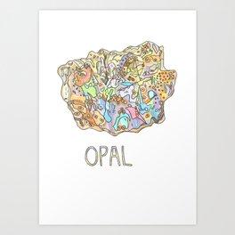 Opal Gemstone / October Birthstone Watercolor Painting / Illustration Art Print