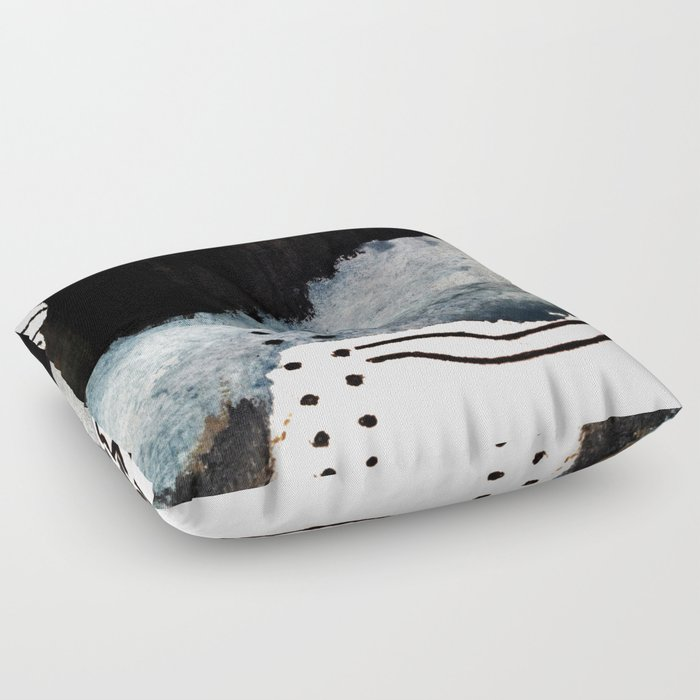 Closer - a black, blue, and white abstract piece Floor Pillow