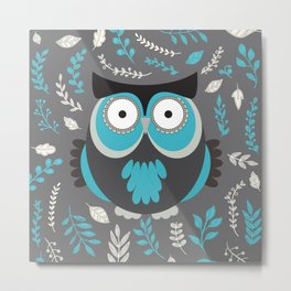 BLUE OWL AND LEAVES Metal Print