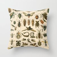 insects Throw Pillows featuring Insects by Connie Goldman