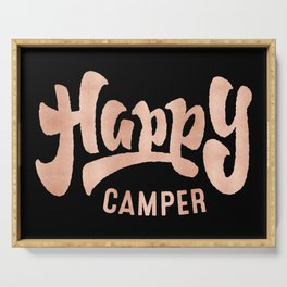 HAPPY CAMPER Rose Gold on Black Serving Tray