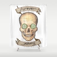 forever young Shower Curtains featuring Forever young by Glutamat Studio