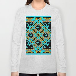 Decorative Western Style Turquoise Butterflies  Black Gold Patterns Long Sleeve T-shirt