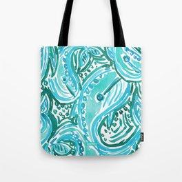 BLUE WHALE TWIRL Tote Bag