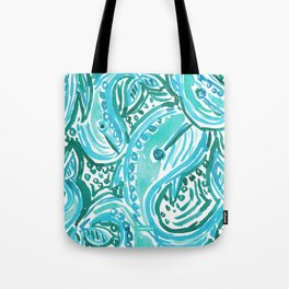 BLUE WHALE TWIRL Tote Bag