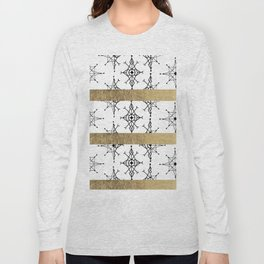 Geometrical black white faux gold snowflake Long Sleeve T-shirt