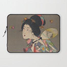 Japanese Art Print - Woman and Fireflies Laptop Sleeve