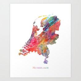 Netherlands Map Watercolor by Zouzounio Art Art Print