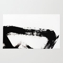 Brushstroke [8] - a simple, abstract, black and white india ink piece Rug