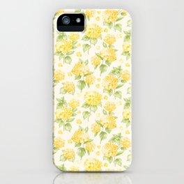 Modern  sunshine yellow green hortensia flowers iPhone Case