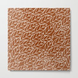 Doodle Leaves Rust and Light Grey (almost white) Metal Print