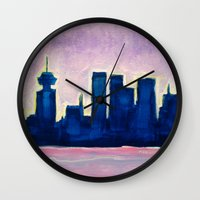 vancouver Wall Clocks featuring Sundown Vancouver by Morgan Ralston