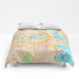 Boston watercolor map XL version Comforters