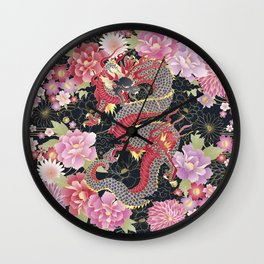 JAPANESE DRAGON & FLORAL KIMONO PRINT Wall Clock