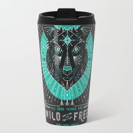Wild & Free Wolf – Turquoise & Grey Travel Mug